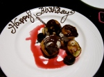 awww;) they put a candle in the profiteroles i ordered!!