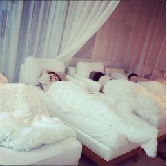 post-redeye nap at the spa!